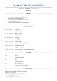 Examples Cv Physician Cv Examples Templates Visualcv