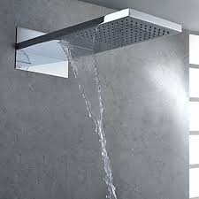 rain shower head wall mount. Square Modern Bathroom Chrome Polished Top Shower Wall Mounted Waterfall Rain Head At FaucetsDeal.com Mount I