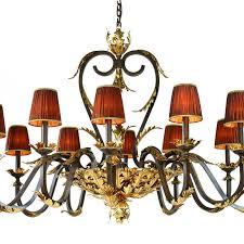 chandelier 22058p 12 chandelier metal parts in polished brass and gold leaf orange organza shade