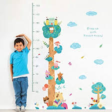 Buy Decalmile Animals Tree Height Chart Kids Wall Stickers