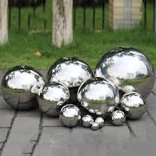9 size stainless steel mirror sphere polished hollow ball home garden ornament