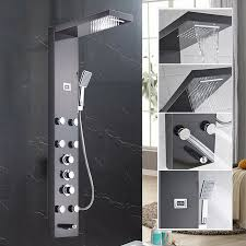 oil rubbed bronze shower panel column massage system w hand sprayer set