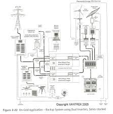 schematics for generators solar wind and battery installations the trick to creating dual phase ac circuits is either communication between inverters in a two inverter installation or adequate auto transformers to