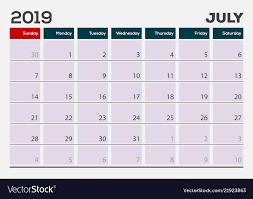 Callendar Planner July 2019 Calendar Planner Design Template