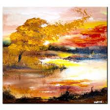 deep silence abstract landscape painting fall theme
