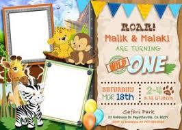Safari Party Invitations Twins Safari Birthday Invitations Wild One Birthday Invitation