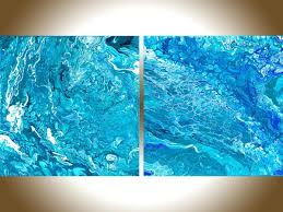 turquoise office decor. Astounding X Abstract Painting Fluid Art Contemporary Original Wall Blue Turquoise Office Decor