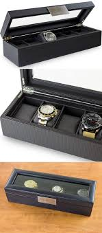 25 best ideas about watch boxes for men watch box 6 slot luxury watch box for men carbon fiber design holds large watches