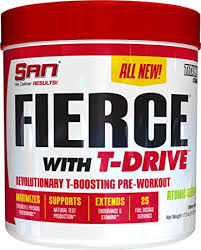 san nutrition fierce with t drive testosterone booster pre workout for increased energy