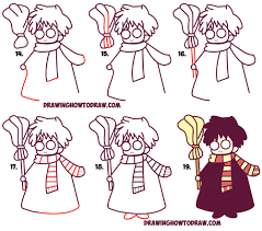 learn how to draw cute harry potter chibi kawaii simple steps drawing lesson