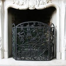 birds iron fireplace screen