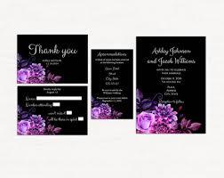 Black And Purple Invitations Black And Purple Invitation Kits Template Floral Invitation Set Printable Wedding Suite Diy Flowers Invitation And Rsvp Wedding Set 1w38