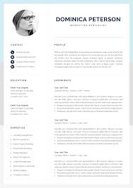 One Page Resume Templates Modern Modern Resume Template Creative Cv With Photo 1 2 Page