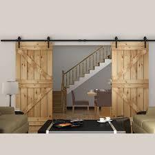 150cm 183cm 200cm 244cm 300cm 366cm 400cm diy heavy duty double sliding barn door modern wooden sliding barn door hardware in doors from home improvement on