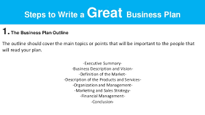 how to write business plan sample busines s plan outline in one picture 4 steps to write a great business