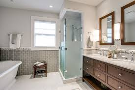 frosted shower doors. Frosted Glass Shower Doors Bathroom Traditional With Double Vanity Framed Mirrors. Image By: J Campbell Interiors