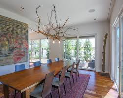 branch chandelier lighting. adorable contemporary dining room with teak wooden long table also modern black chairs admirable branch chandelier design elegant lighting