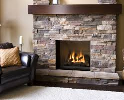 Natural Stone Fireplace Natural Stone Veneer Firepalce With Dark Wood Mantel Home Decor
