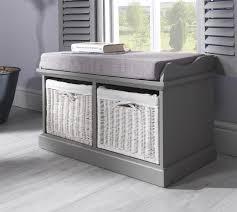 tetbury grey storage bench with  white baskets