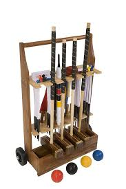 championship croquet set with wooden trolley