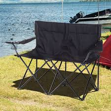 outsunny double camping chair steel oxford fabric black