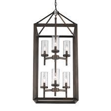 golden lighting s smyth 6 light pendant metal bronze clear glass 2073 6p gmt