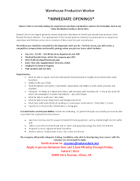 Resume Example Warehouse Worker Skills Career Objective Examples For