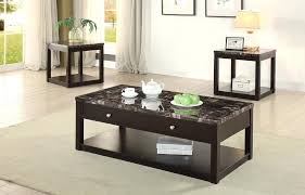 marble coffee table set 3 piece dark brown faux marble coffee