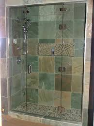 3 8 custom frameless glass shower door enclosure with movable transom with brushed nickel hardware