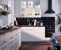 Kitchen: Modern Ikea Kitchen Units Ideas with Black Brick Backsplash Tile  and White Wooden Wall