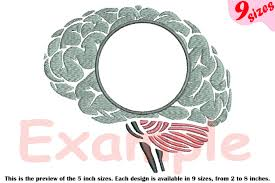 Science Embroidery Designs Brain Outline Embroidery Design Cricle Frame Science Anatomy