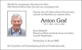 Traueranzeigen von Anton Graf   Schwarzwälder Bote Trauer