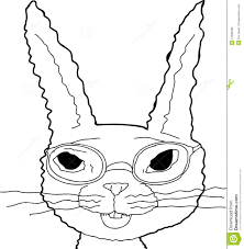 outline of bunny outline of bunny in glasses stock illustration illustration of