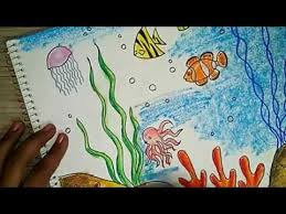std 8 drawing book how to draw an underwater scene 2 oil pastel coloring of std