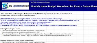 Ms Excel Monthly Home Budget Worksheet | Formal Word Templates