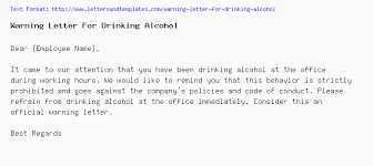 How To Write A Warning Letter To An Employee Warning Letter For Drinking Alcohol