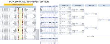 UEFA EURO 2020/2021 Schedule Excel Template - Excel VBA Templates