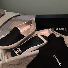chanel sneakers. size 43(10us) chanel unisex slip-on sneakers
