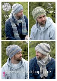 Mens Beanie Knitting Pattern Interesting 48 KING COLE DRIFTER CHUNKY MENS HAT SCARF COLLECTION KNITTING