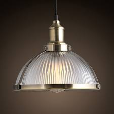 industrial prismatic ribbed glass round dome pendant light one light