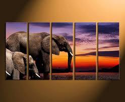 5 piece canvas print home decor elephant wall art animal multi panel canvas on african elephant canvas wall art with 5 piece multi panel canvas elephant wall art animal huge canvas