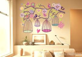 living room wall stickers birdcage tree wall sticker birdcage flower tree kids living room wall decor