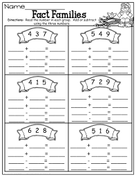 Fact Families Worksheets First Grade Printable Shelter