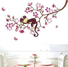 boys wall art for bedroom whole removable wall art stickers rooms giraffe pink flowers blossom monkey