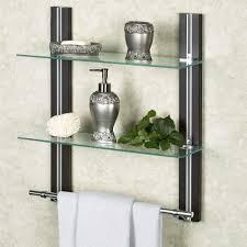 two tier glass bathroom shelf with towel bar wall mounted glass shelves for bathroom