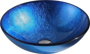anzzi clavier series deco glass vessel sink in rous blue finish