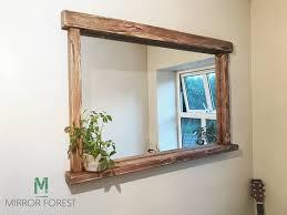 handmade overhang shelf mirror rustic