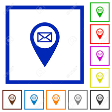 White Address Address Of Gps Map Location Flat Color Icons In Square Frames