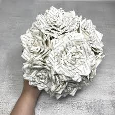 Paper Flower Bouquet Etsy Book Page Bouquet Bridal Bouquet Paper Flower Bouquet Bridal Bouquet Weddings Celebration Anniversary Custom Orders Welcomed
