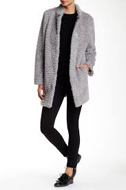 image of kenneth cole new york solid faux fur coat